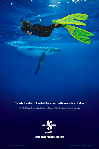 SCUBAPRO USA, Division of Johnson Worldwide, snorkeler with humpback whale