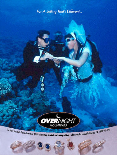 Underwater wedding produced in the Red Sea for a wedding ring manufacturer.  Talent were certified scuba divers Robert Mills, Chuck Guthrie and Becky Bump. The shoot was done in about 50' of water near the coast of Egypt.